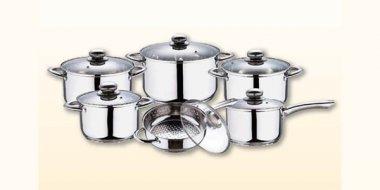 Set vase gătit inox capace sticlă 12 piese